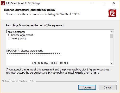 Installare Filezilla - Termini di licenza