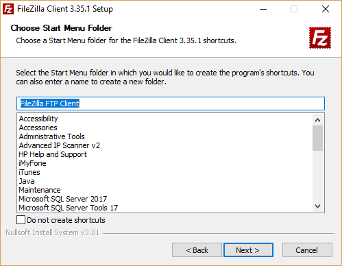 Installare Filezilla - Start Menu
