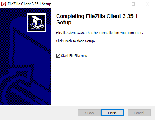 Installare Filezilla - Finish