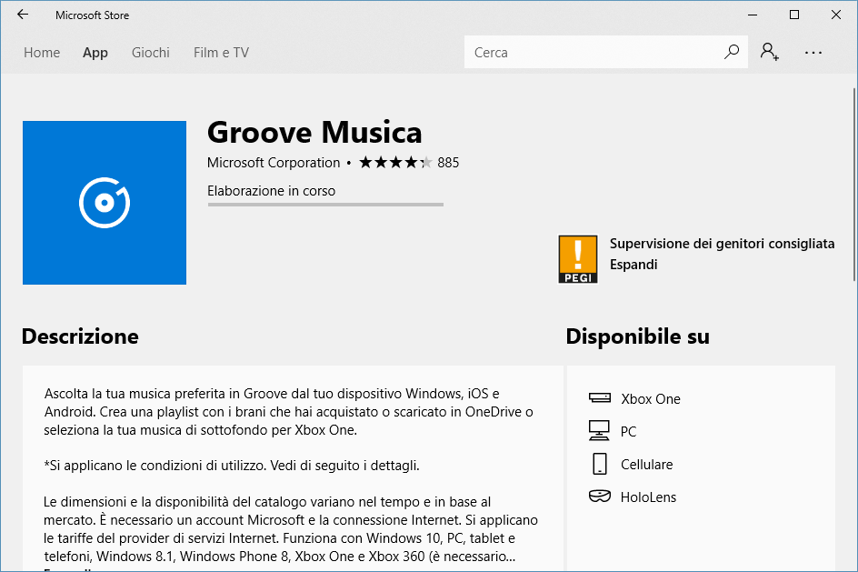 Installare Groove Musica - Installazione in Corso