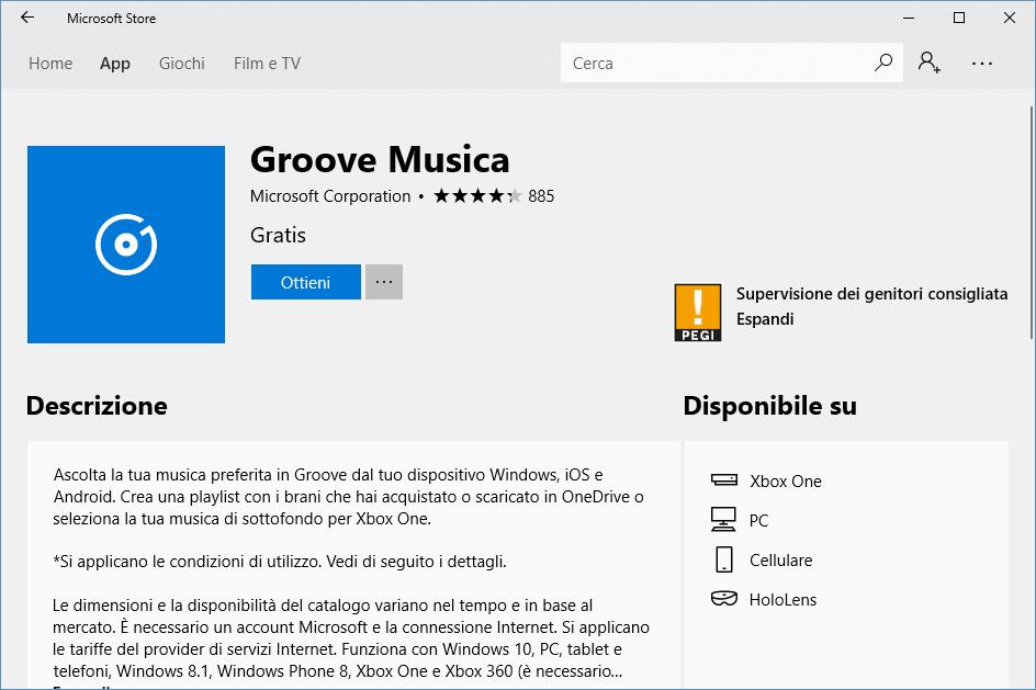 Installare Groove Musica - Ottieni