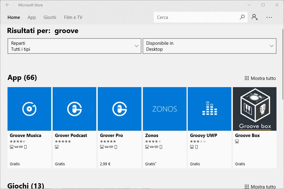Installare Groove Musica - Seleziona App