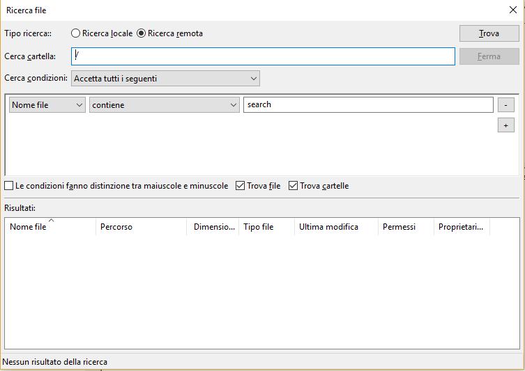 Ricercare un file con Filezilla - Ricerca File