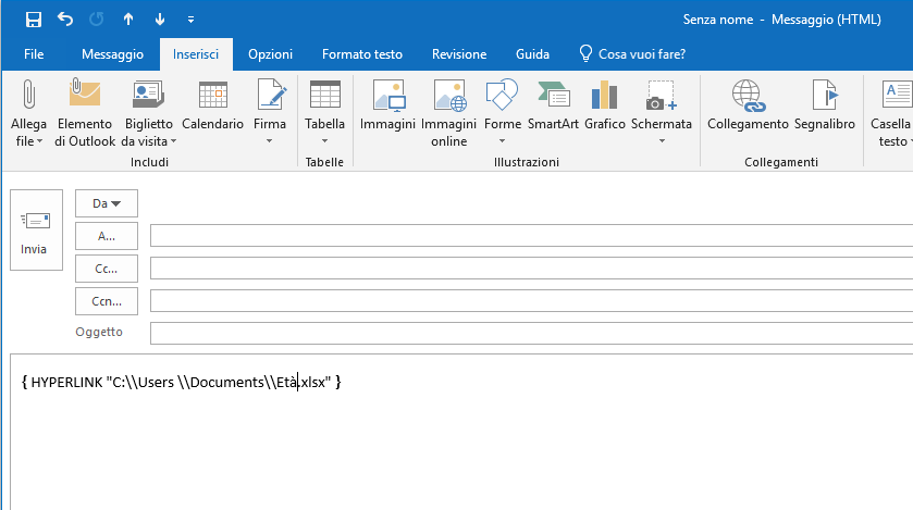 Codice HTML - Nuova Mail