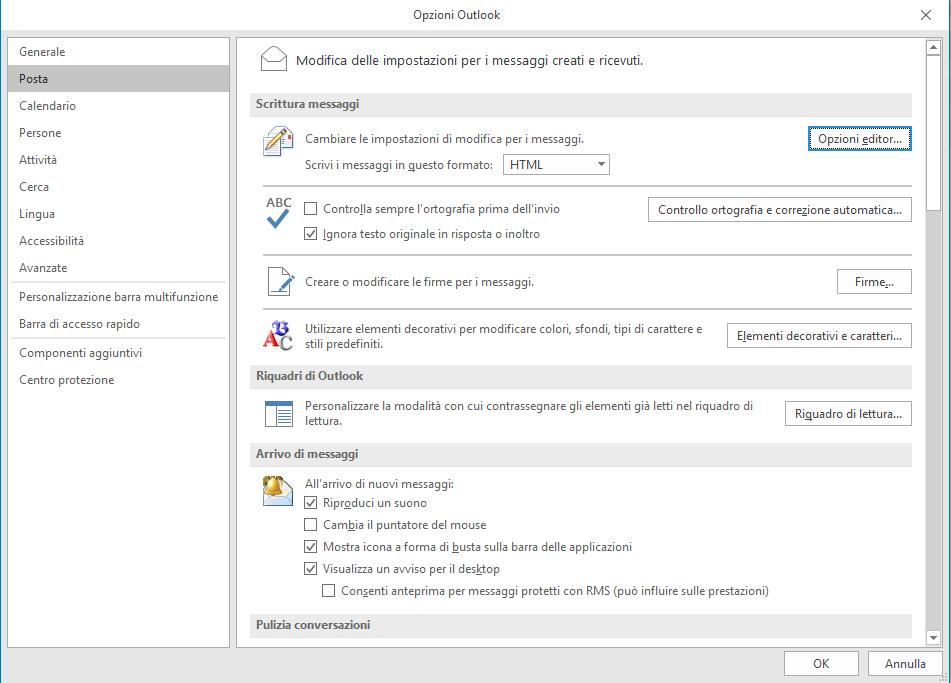 Codice HTML - Opzioni Outlook