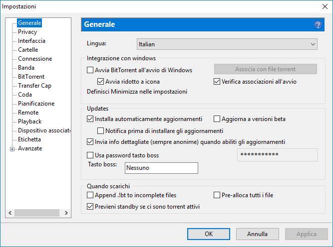 Cambiare la lingua di BitTorrent - Impostazioni