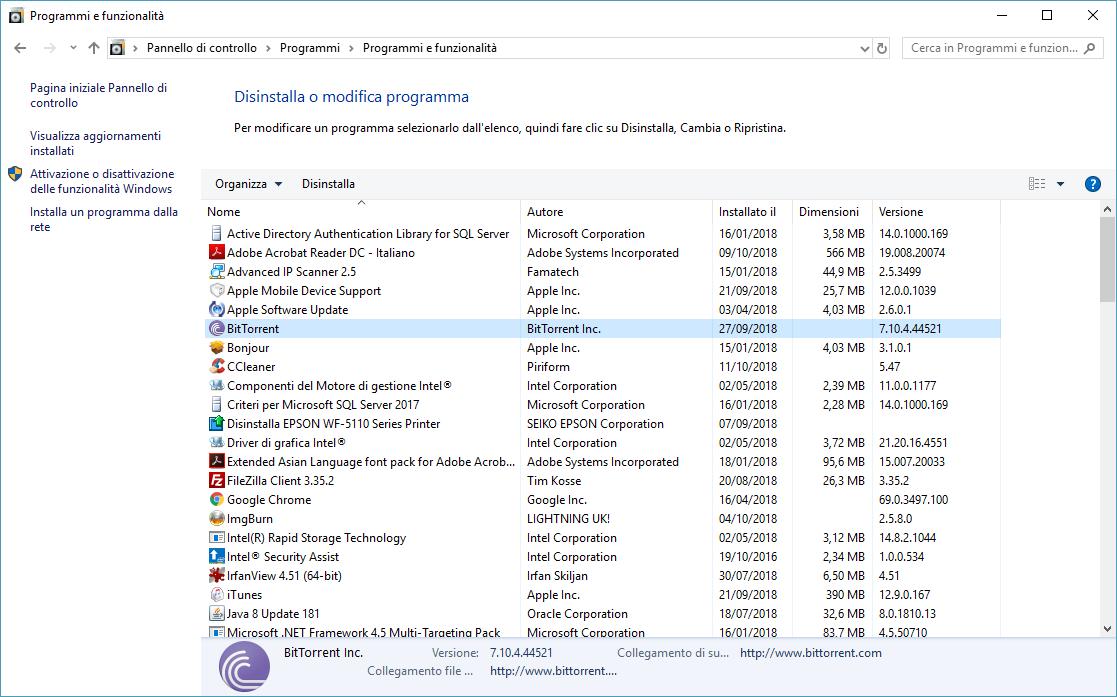 Disinstallare BitTorrent - Disinstalla