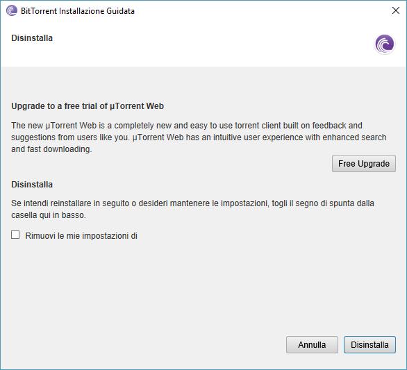 Disinstallare BitTorrent - Procedura Guidata