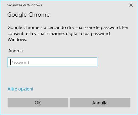vedere le password salvate su chrome - Sicurezza di Windows