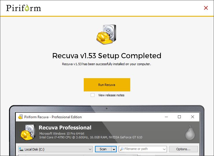 recuperare un file cancellato - Run Recuva