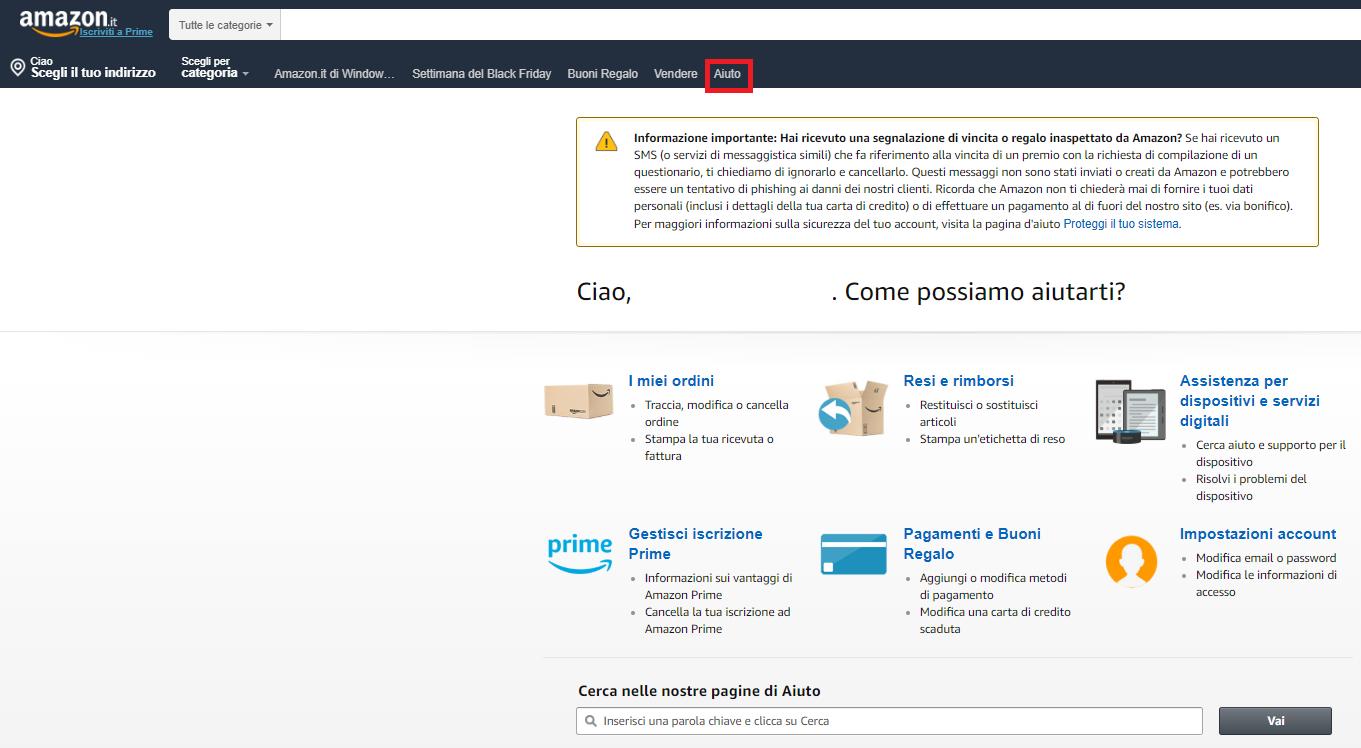 Come cancellare un account Amazon - Aiuto