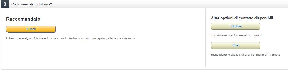 Chiudere un account Amazon - Contatta Amazon via mail
