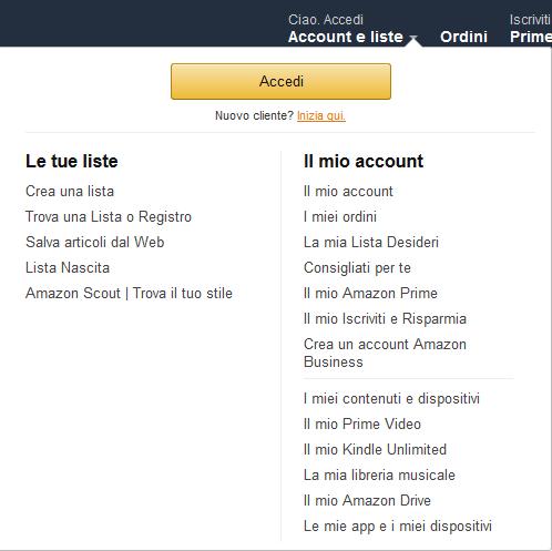 Come cancellare un account Amazon - Accedi