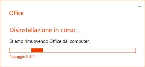 Disinstallare Office - Rimozione in corso