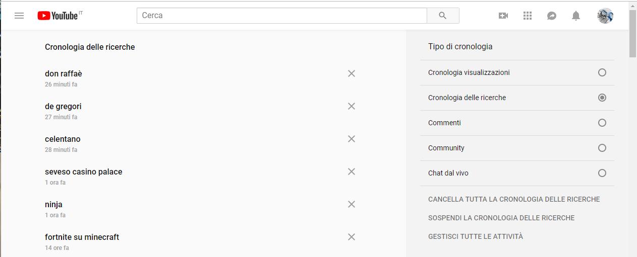 Cancellare la cronologia di Youtube - Cronologia ricerche