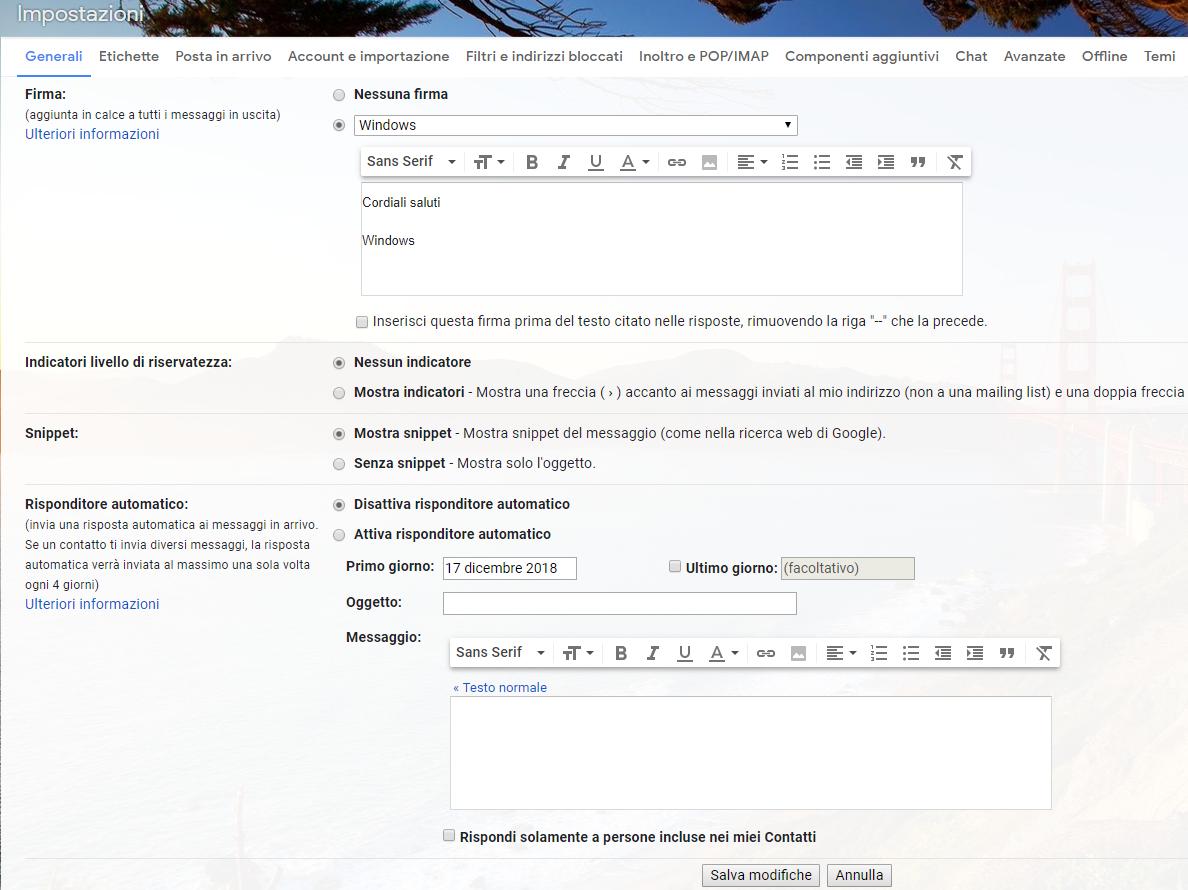 Firma in Gmail - Impostazioni Generali