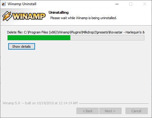 Disinstallare Winamp - rimozione In corso