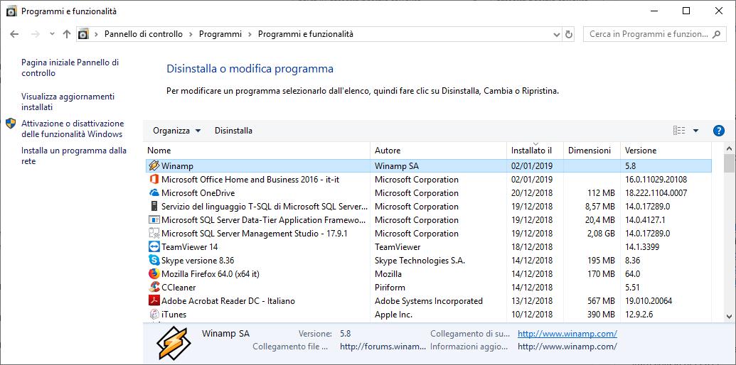 Disinstallare Winamp - Programmi e funzionalità