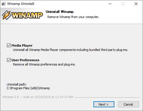 Disinstallare Winamp - Opzioni di rimozione
