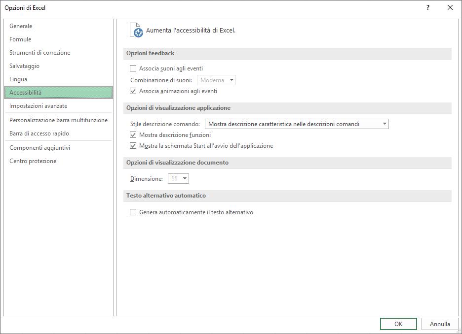 Attivare gli effetti audio di Office - Accessibilità