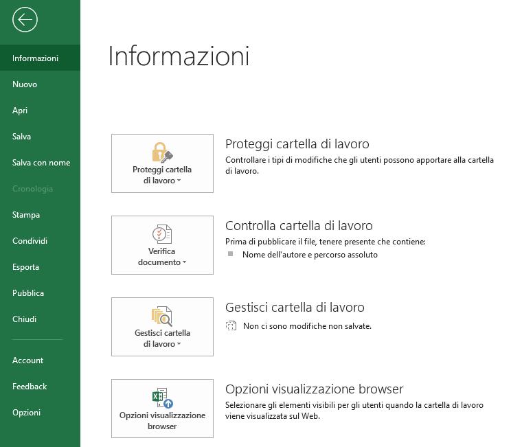 Excel - Menu Informazioni