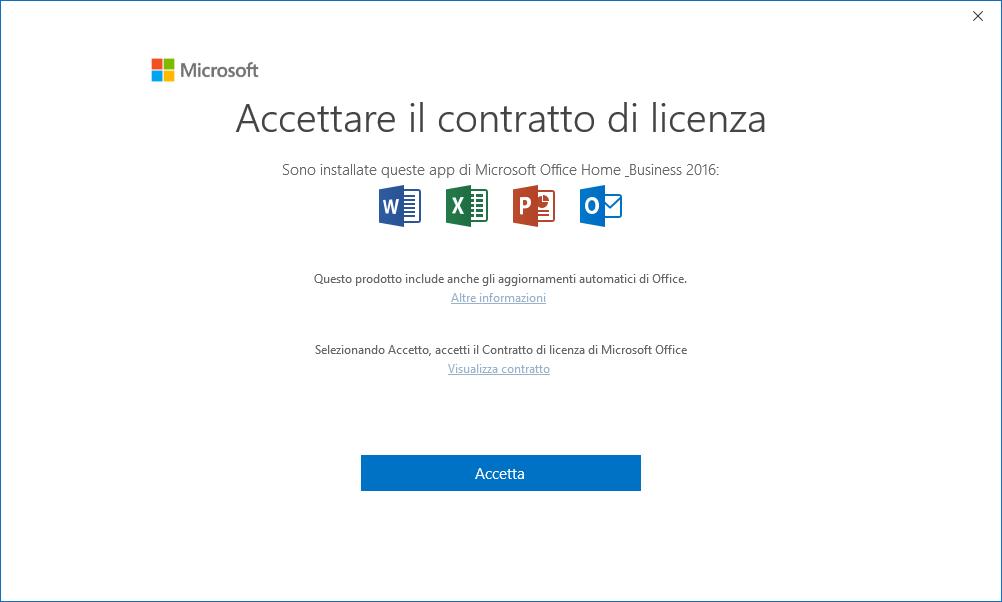 Outlook - Accettare il contratto di licenza