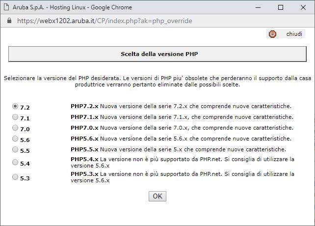 Aggiornare PHP su Aruba - Scelta Versione