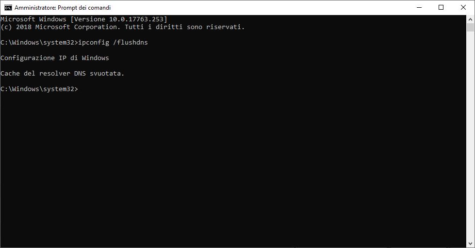 Come svuotare la Cache DNS - cache svuotata