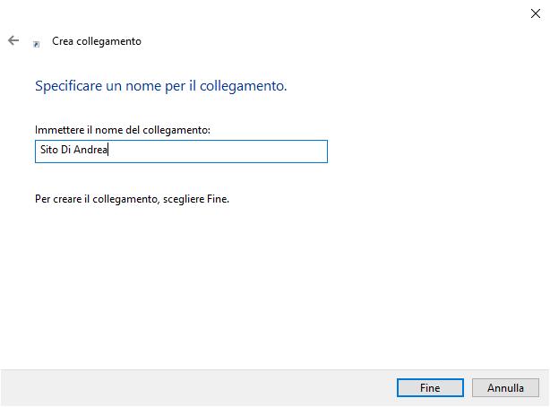 collegamenti sul Desktop - Nome collegamento