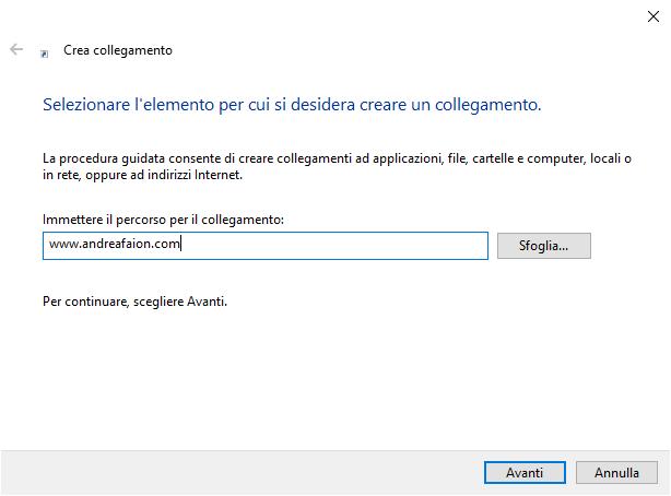 collegamenti sul Desktop - Percorso