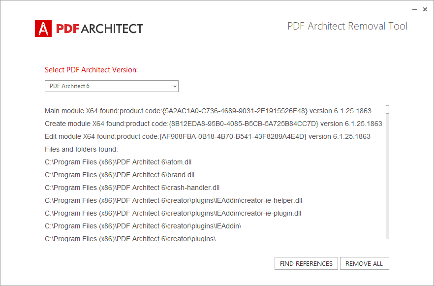 PDF Architect Removal Tool - Find preferences