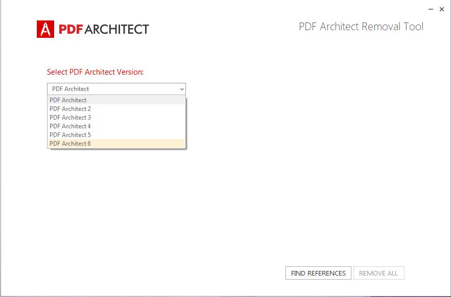 PDF Architect Removal Tool - Seleziona Versione