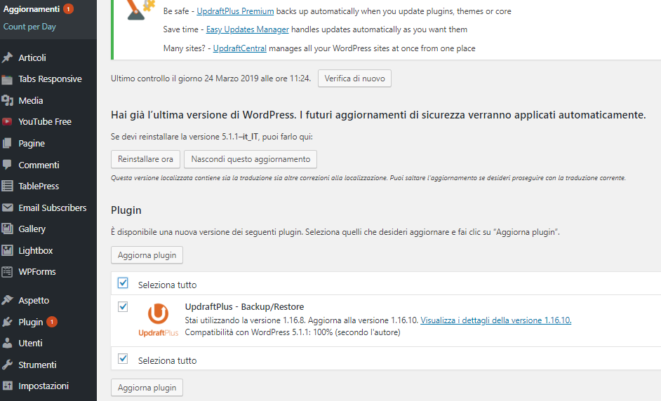 Aggiornare un Plugin di WordPress - Aggiornamenti