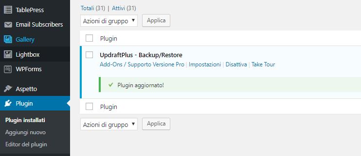 Aggiornare un Plugin di WordPress - Plugin Aggiornato