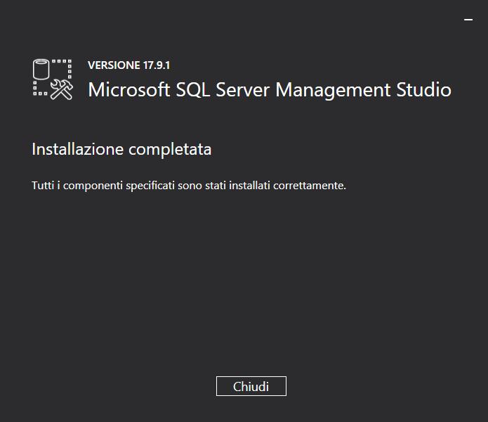 Installare SSMS - Installazione completata