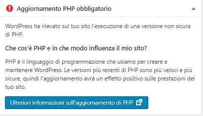 Aggiornare PHP su Aruba - Messaggio errore