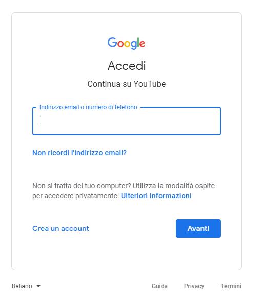 Account Google - Credenziali Accesso