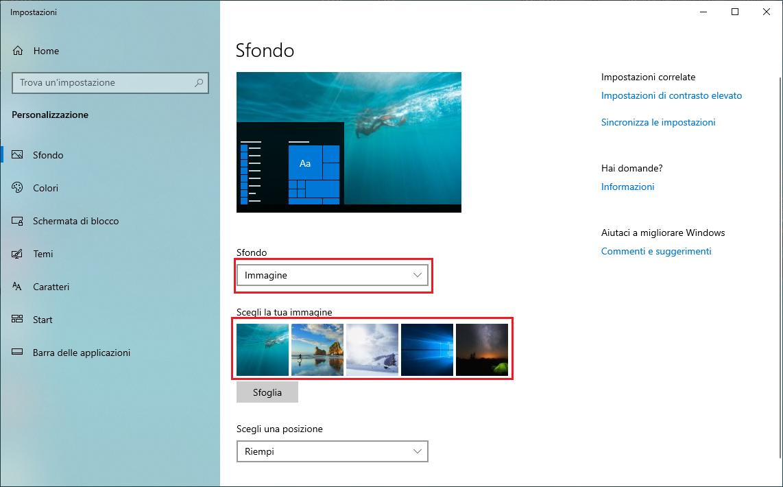 Cambiare lo sfondo del Desktop - Immagine Windows