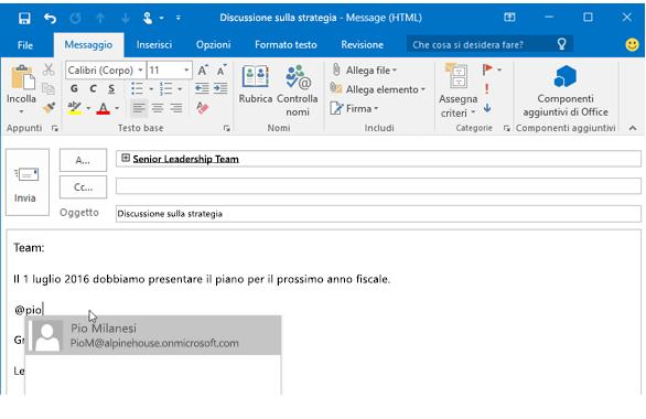 Menzionare una persona in Outlook - Aggiunta menzione