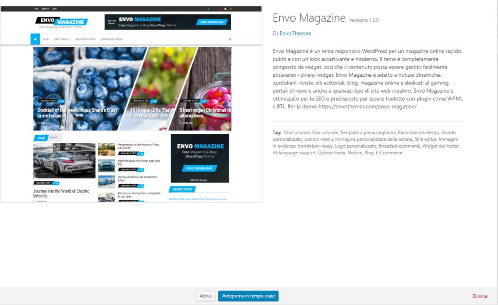 Eliminare un tema su WordPress - Elimina