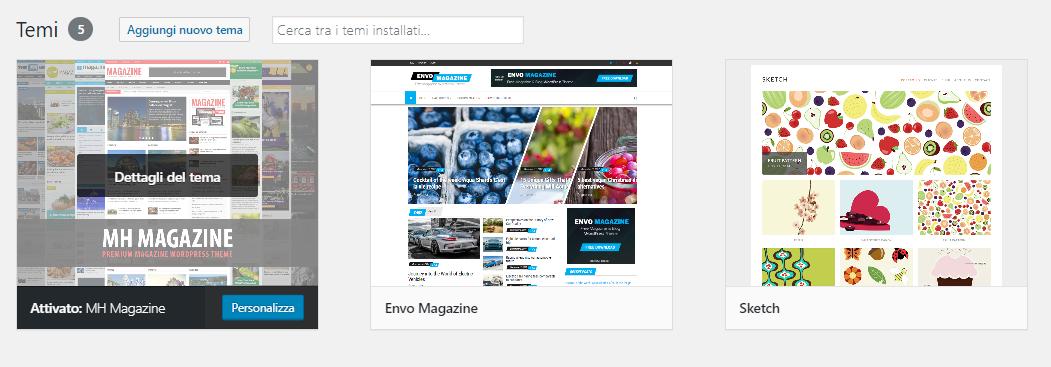 WordPress Temi installati