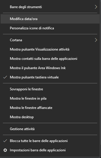 Modificare Data e ora - Menu