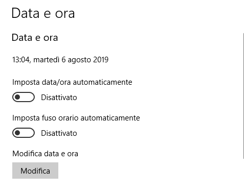 Modifica data e ora