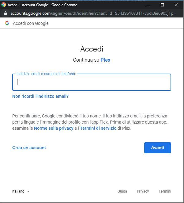 Registrarsi su Plex con Google