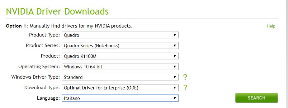 Aggiornare driver NVIDIA - Scegli modello