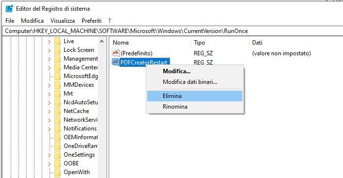Risolvere errore di installazione di PDFCreator - Elimina tramite Regedit