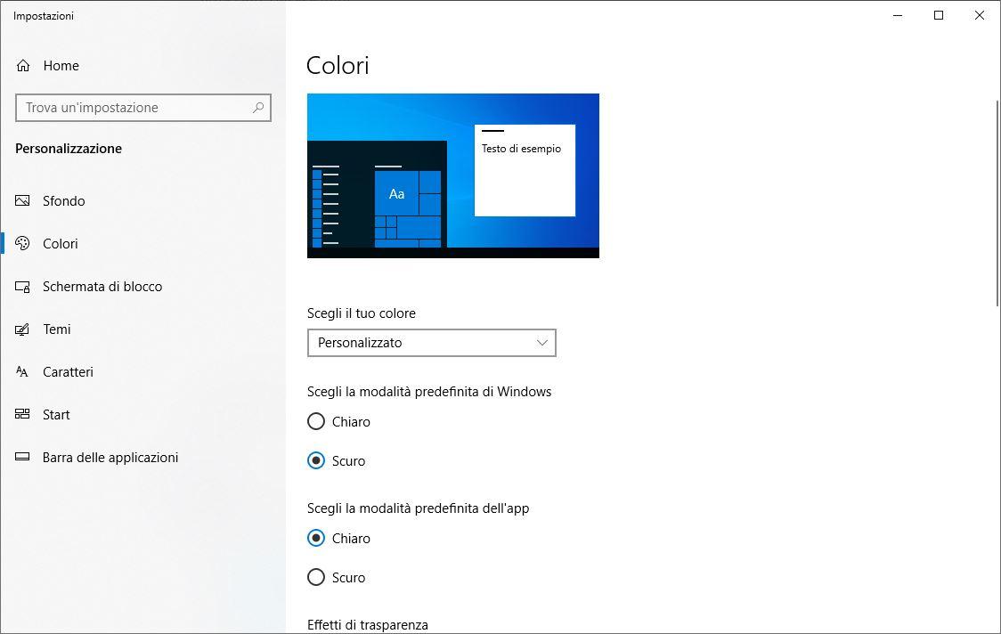 Tema Chiaro Windows 10 - Colori