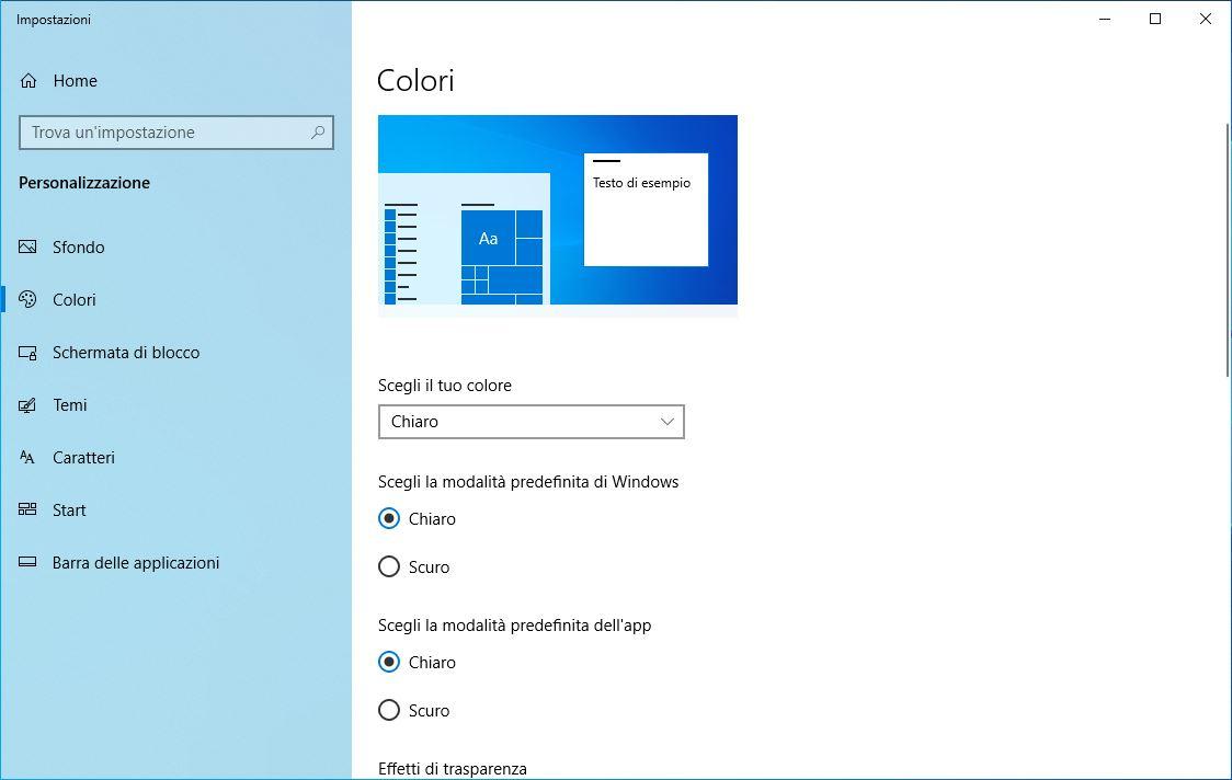 Tema Scuro Windows 10 - Impostazioni