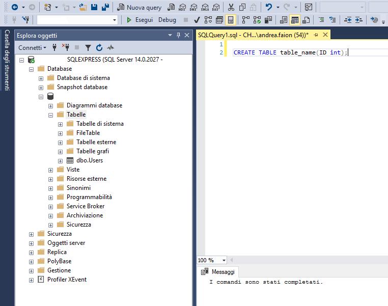 Creare tabella Sql Server da codice