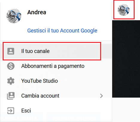 Il tuo canale Youtube